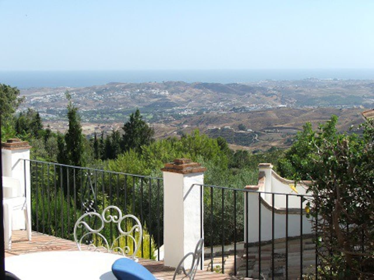 Views across the rolling hills to the sea