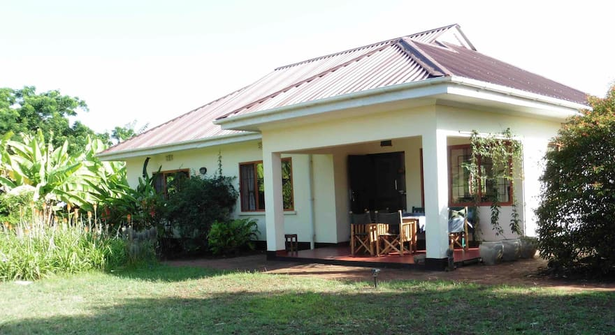 Open plan living, tropical garden, mountain view