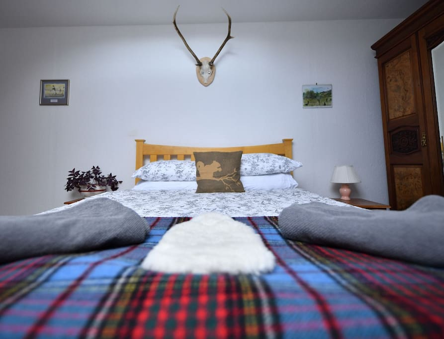 Cosy double bed with beautiful sheets - a perfect getaway for couples wanting to explore Morvern, Ardnamurchan & the Isle of Mull