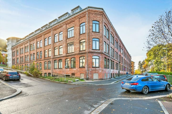 The building used to be a shoe factory from 1895, refurbished to Apartments in 2008.