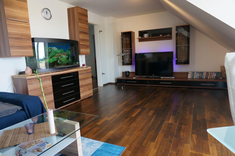 Livingroom with huge TV and aquarium - Wohnzimmer mit großem Fernseher und Aquarium
