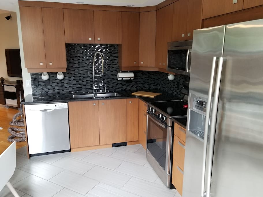 Kitchen with all Bosch Appliances. Fridge is equipped with water and ice dispenser with a five stage reverse osmosis system.