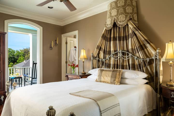 3rd Floor Queen Bedroom with Private Porch located in the Historic District