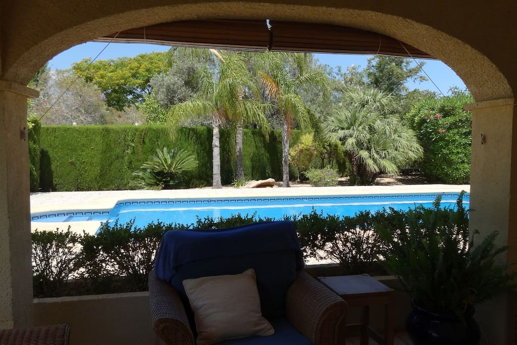 View from the covered terrace of the pool.