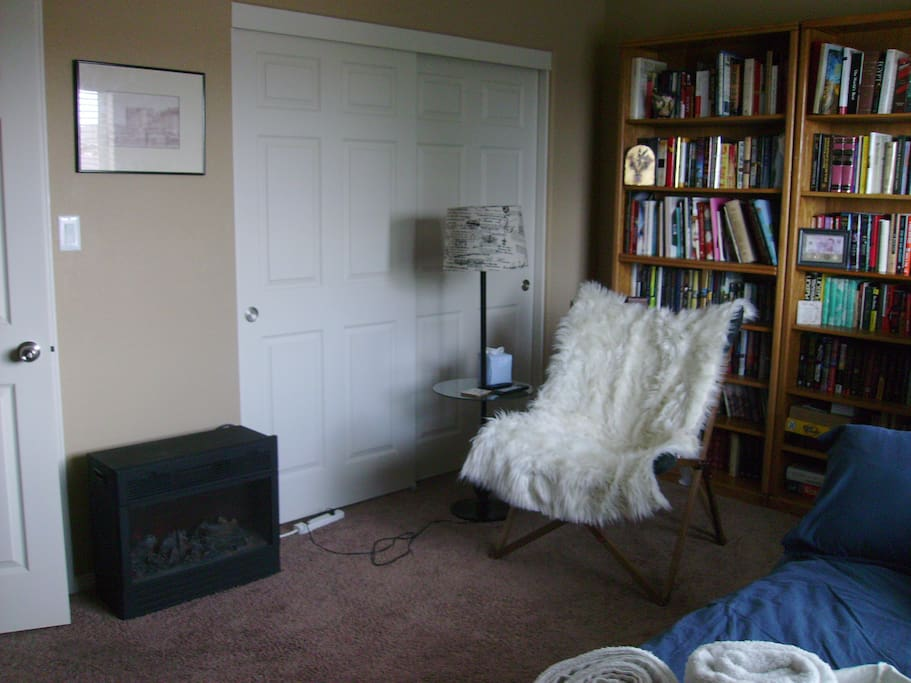 1st bedroom (Library) reading chair and closet space.
