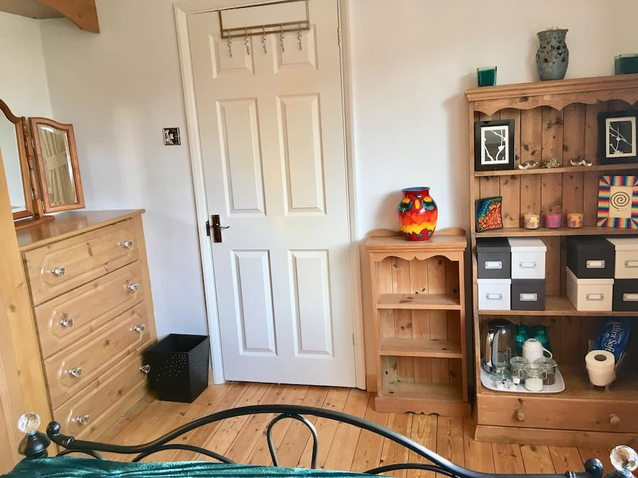 Spacious double bedroom with space for a travel cot OR single air mattress