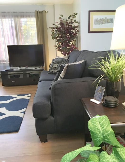 Spacious living room has high-speed WIFI & cable. Access your Hulu, Netflix & Amazon Prime accounts on our Smart 3-D TV.