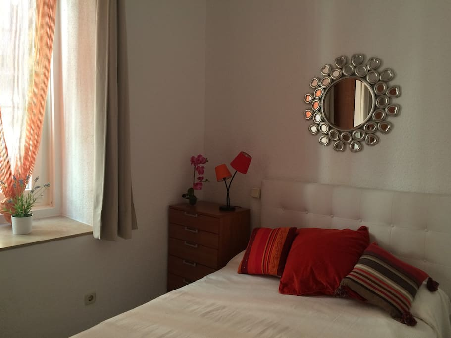 BEDROOM with a 140cm bed, big window. Sheets provided. Sunny and quiet