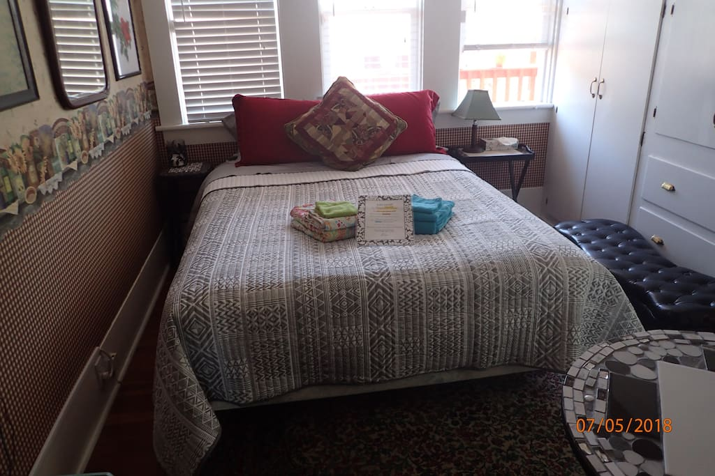 The Heron Room has a Queen sized bed with closet and drawers available