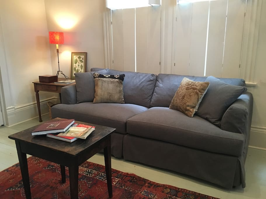 Brand new sofa bed folds out into a queen size bed. We have plenty of extra linens, blankets and pillows!
