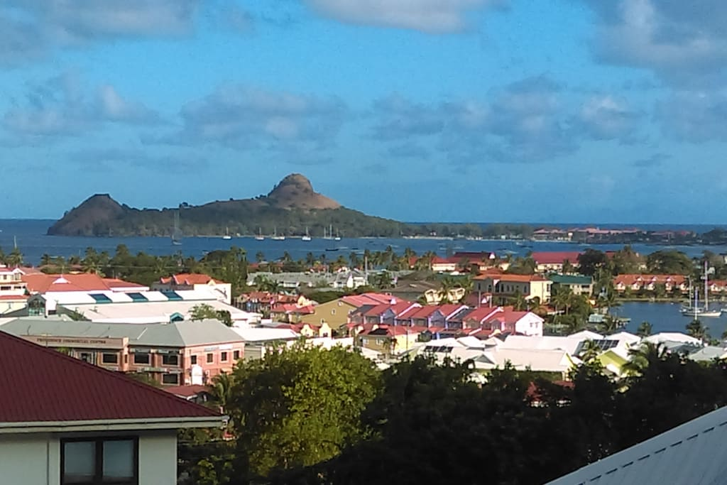 This is the view from the balcony: Pigeon Island, Rodney Bay Marina and the Carribeans.
