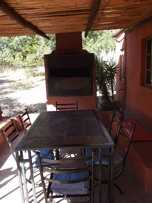 Under cover stoep with built in braai