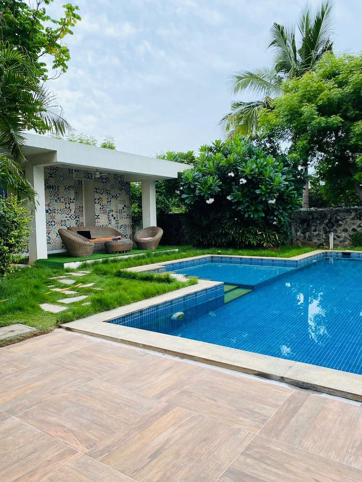 Seaside Lush green villa with Private pool - 4 BHK