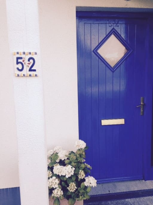 Front door with flowers!