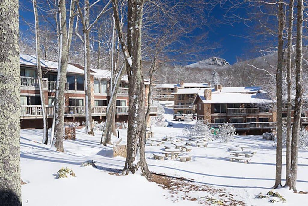 Resort Village in the snow