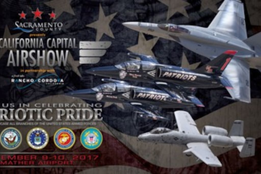 We are about as close as you can get to the annual Capital Air Show action!   We are always booked solid that weekend, so make sure to reserve your stay a month or so in advance to guarantee you get the best room possible!