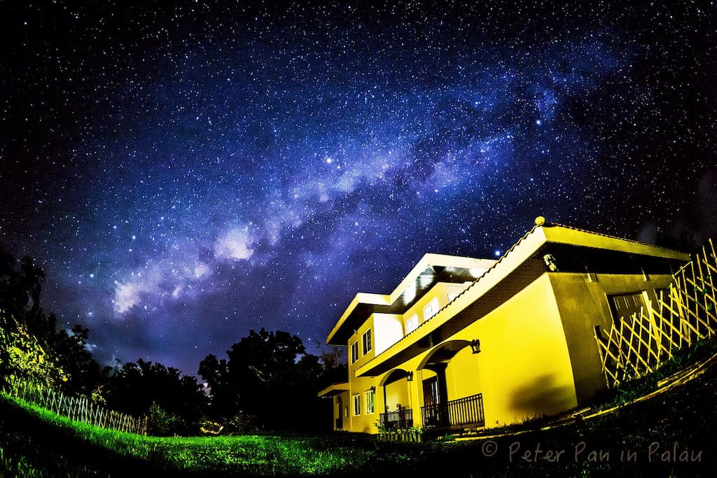 Starry sky view at night