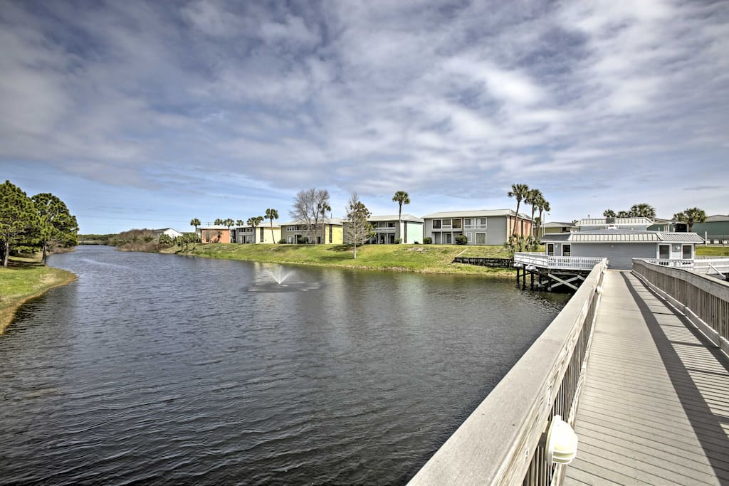 Enjoy views of the Golf Terrace Pond that surrounds the property.