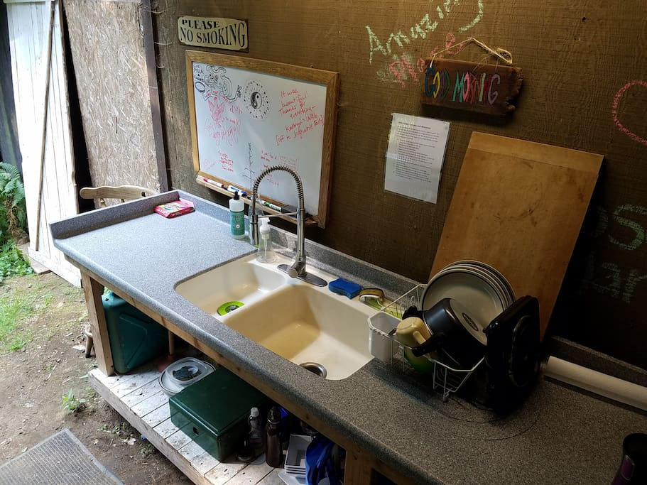 The kitchen sink which has potable cold water