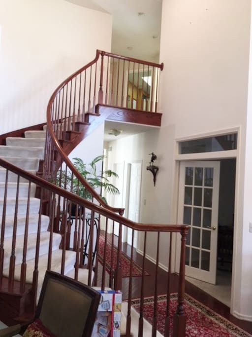 """Stairway to foyer and room               """" up you go """""""