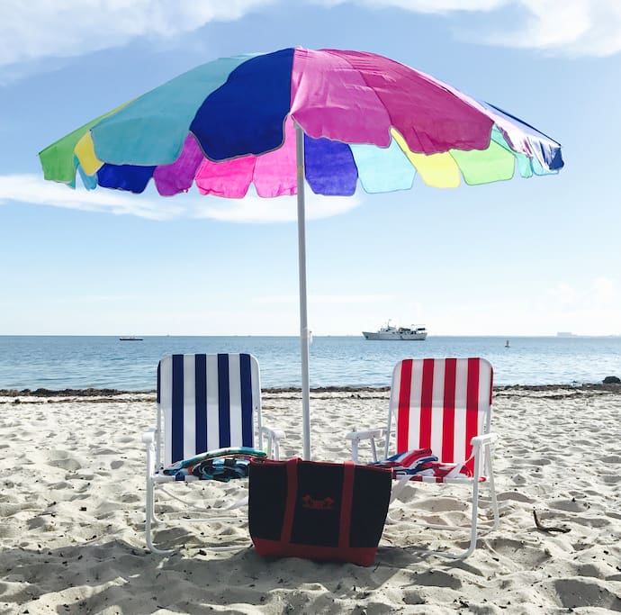 Large beach umbrella is 7.5 feet (228 cm). Take everything or just what you need for your beach day.