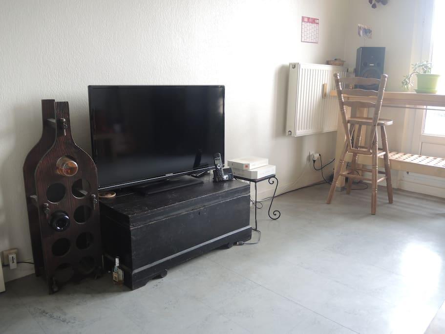 Télévision à écran plat et connexion Wi-Fi