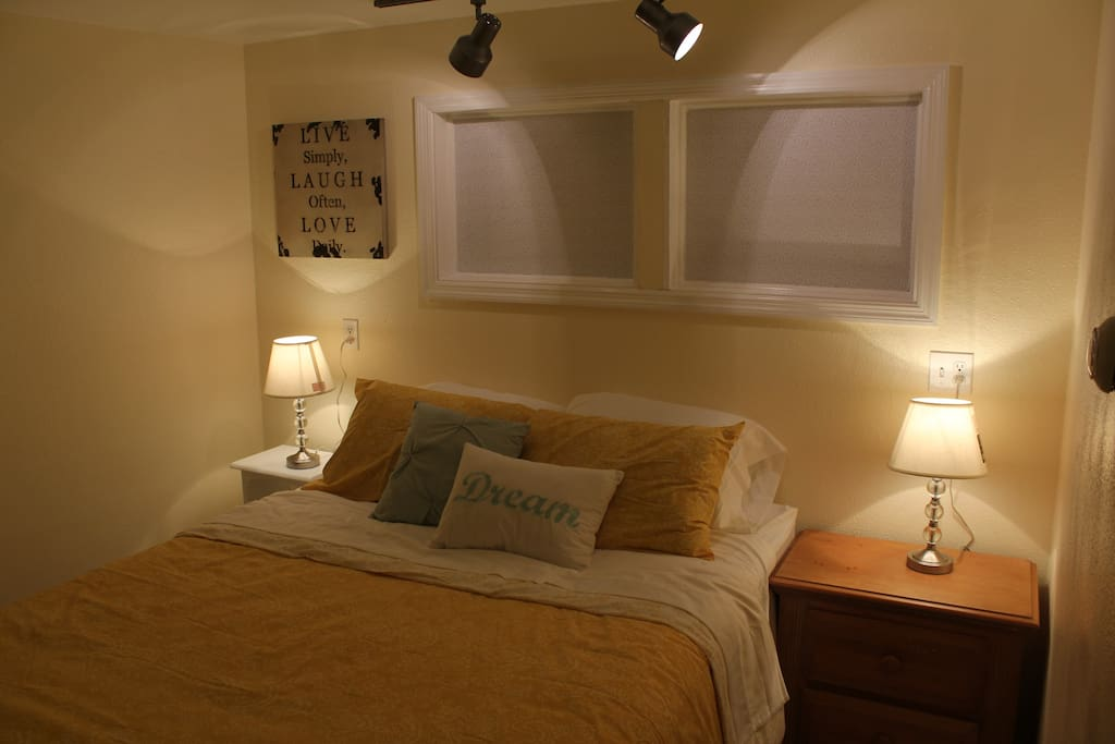 Sleep in this inviting queen bed