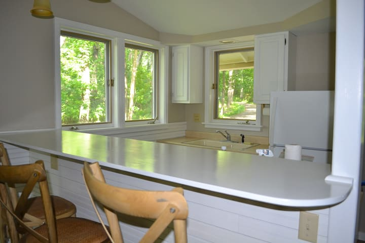 Kitchen has views of woods