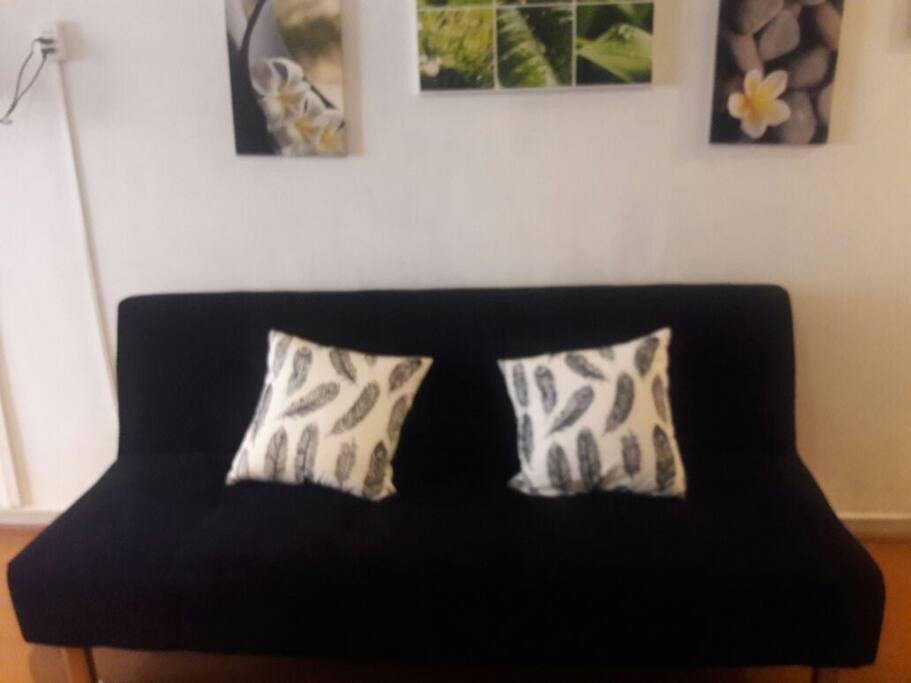 Living con futón, otra cama disponible, y mucha luminosidad.