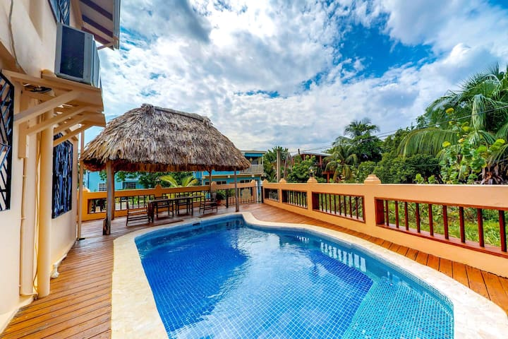 Spacious villa w/ pool, relaxing balcony & hammock! Beach is just steps away!