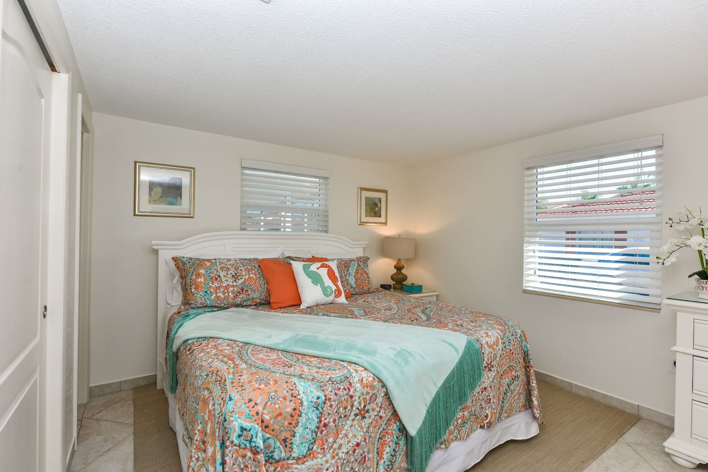 Newly designed master bedroom and renovated master bathroom.