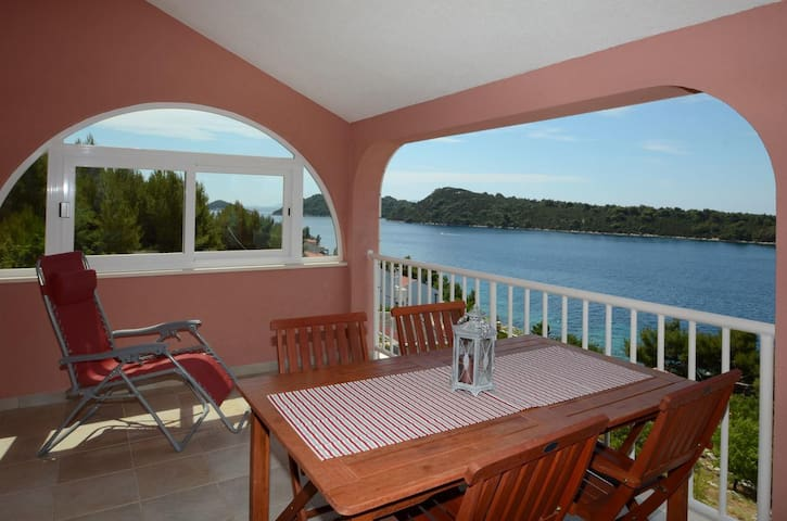 Two bedroom apartment with terrace and sea view Karbuni (Korčula) (A-13217-d)