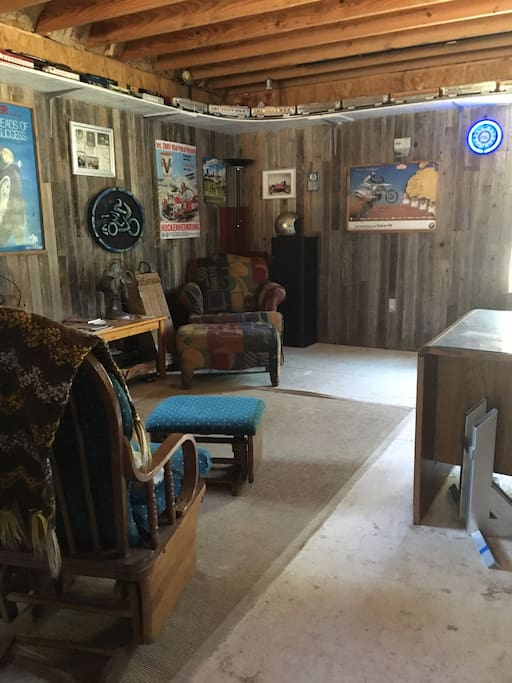 The Barn-downstairs sitting area with full size fridge, microwave and coffee maker.  Dishes provided.