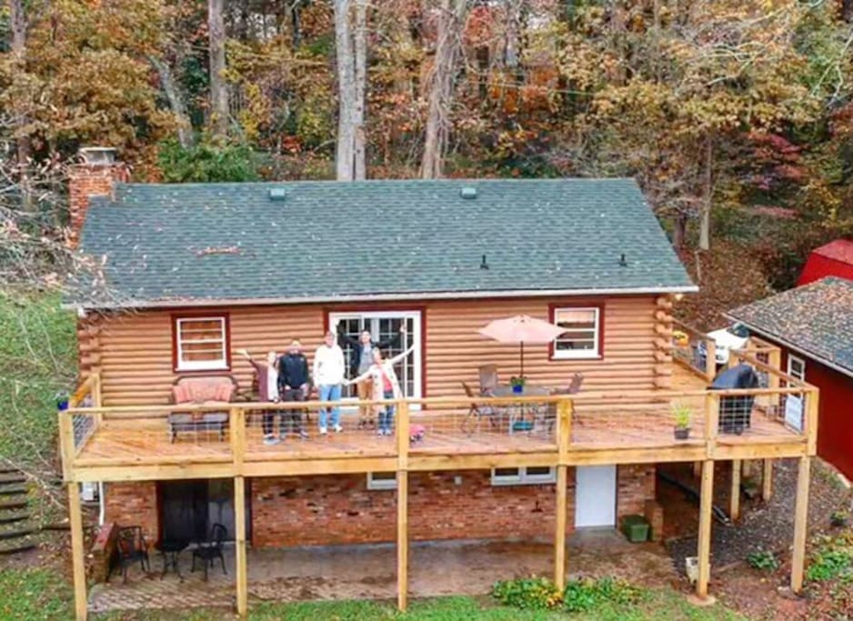 View from a drone in back of cabin: thank you guests!!!