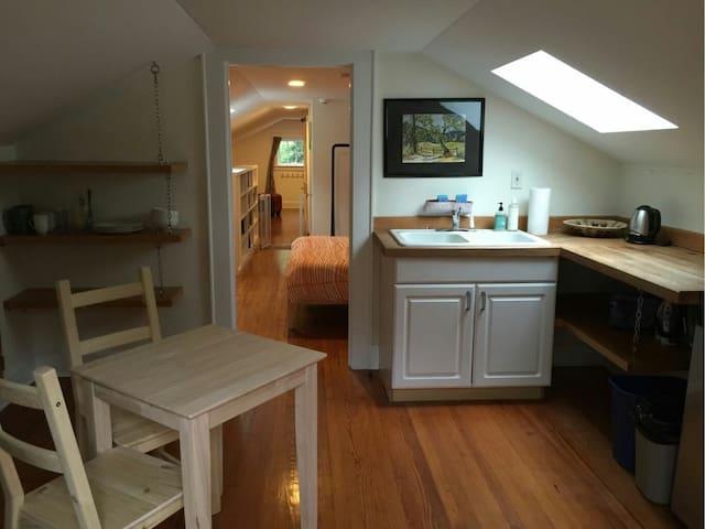 Sunny attic apartment walk downtown - Durham - Huoneisto