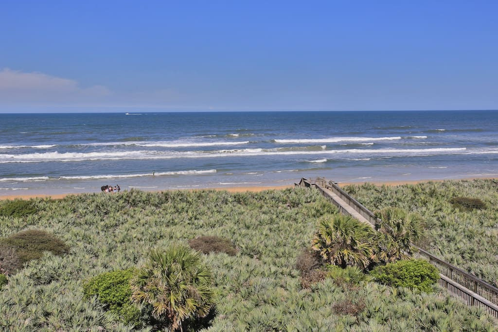 The view from our fifth-floor balcony looks over the pristine Atlantic coast.