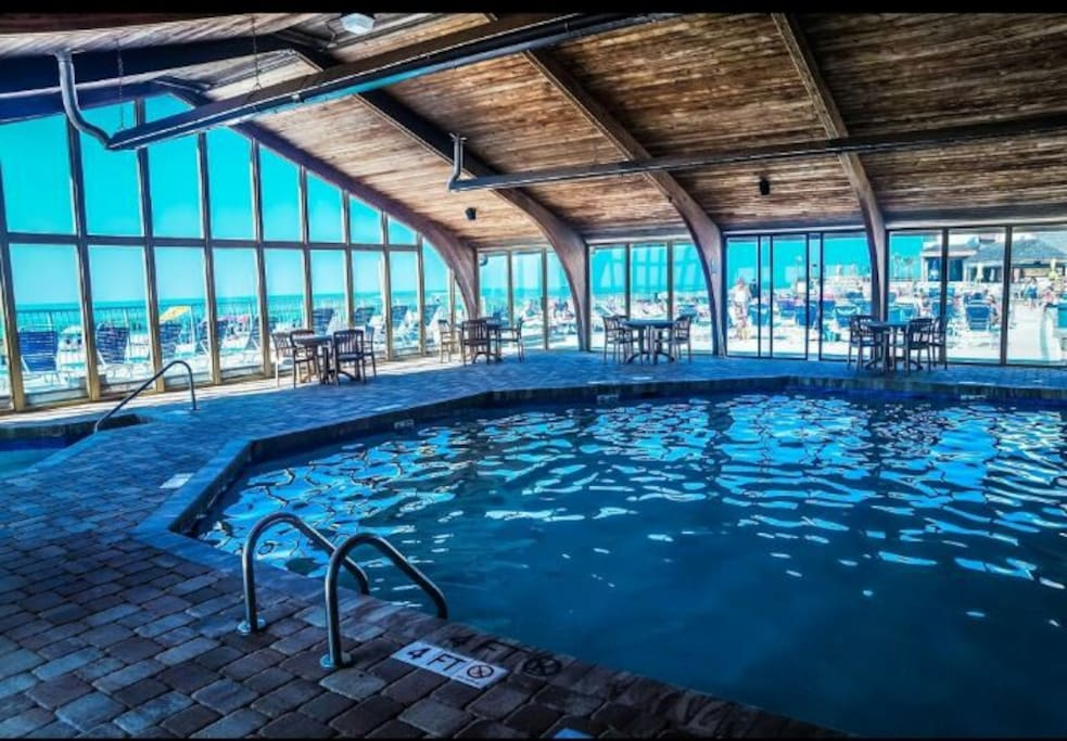 Indoor heated pool with hot tubs!