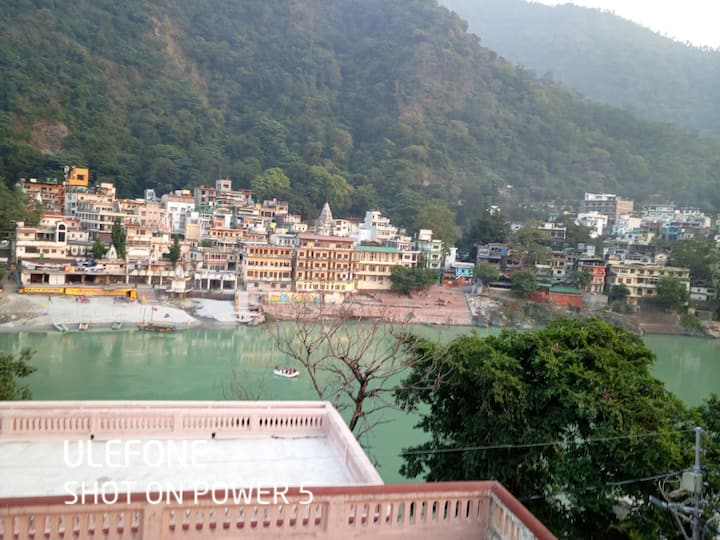 Laxman Jhula Bridge, Mountain & Ganga River View..