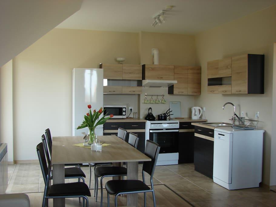 Apartament OGAR salon z aneksem kuchennym