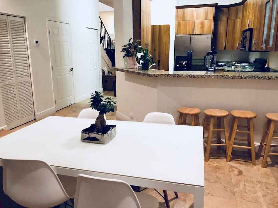 Common areas: kitchen and dining room, available for your use