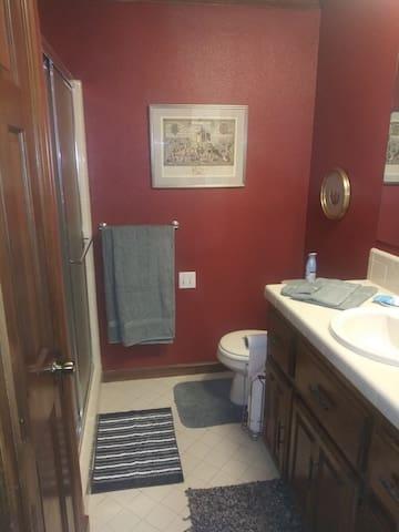 Private bath, walk-in shower.