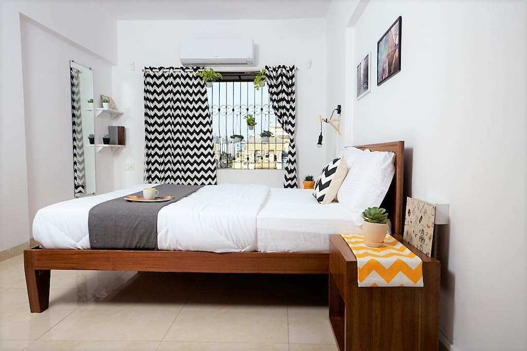 Room 1 with a sturdy Queen sized bed, Orthopedic mattresses and Dr. Back pillows for an incredibly restful sleeping experience.