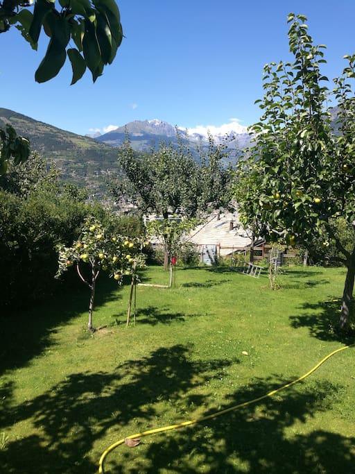 Il panorama dal giardino della casa