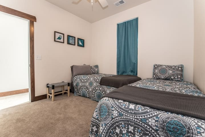First floor bedroom - two twin XL beds.  Large closet with plenty of storage space.