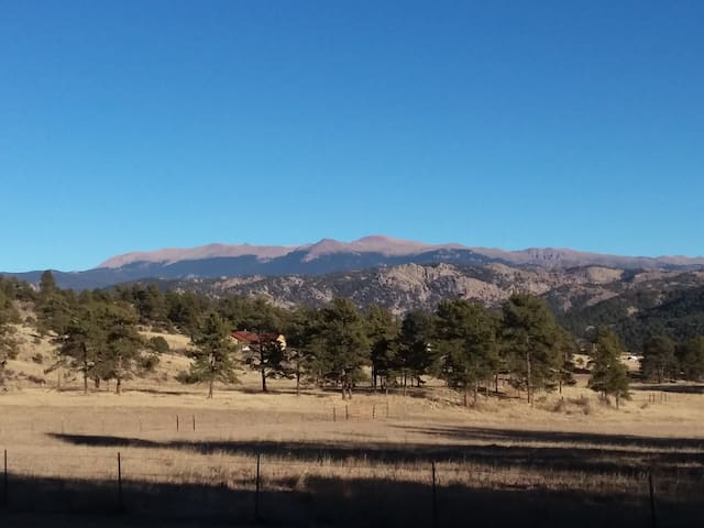 Looking across our pasture to the east, that's Pikes Peak