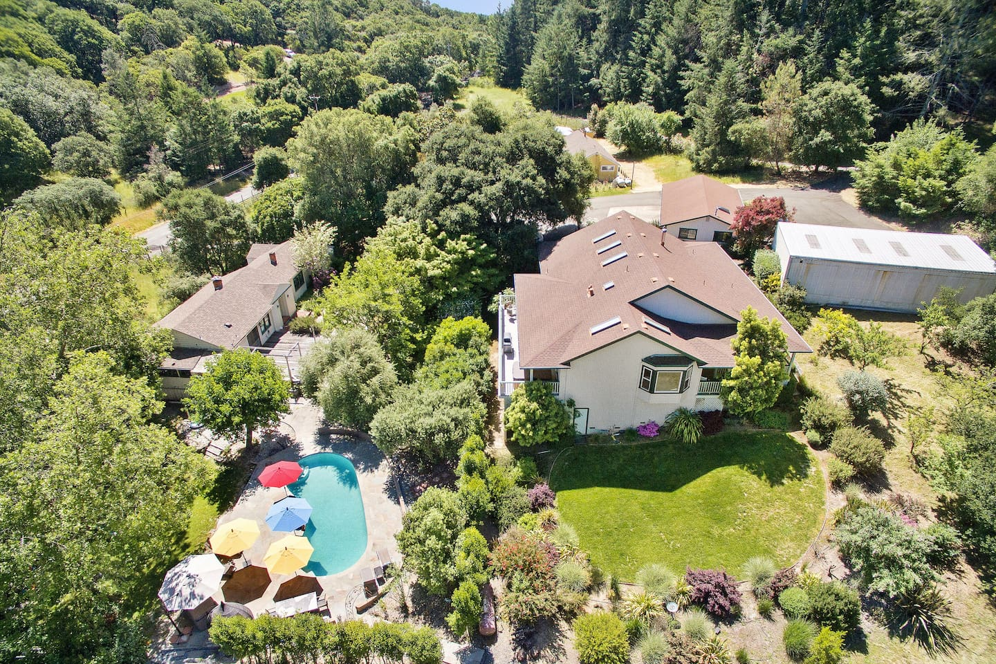 An aerial view of our property. Guests enjoy total privacy in a 8.5 acre park-like setting. The out-buildings are unoccupied, so the entire property is yours to enjoy.