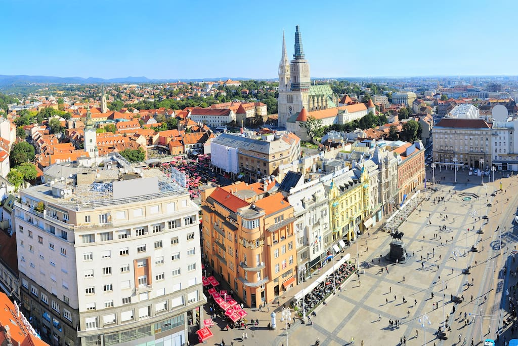 The Zagreb Main Square - the apartment is in the first white building on the left.