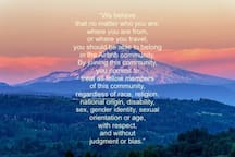 Airbnb statement in front of Mt. Hood. We love it so much we wanted to share. This is also our philosophy and the vibe around our home and 'hood.