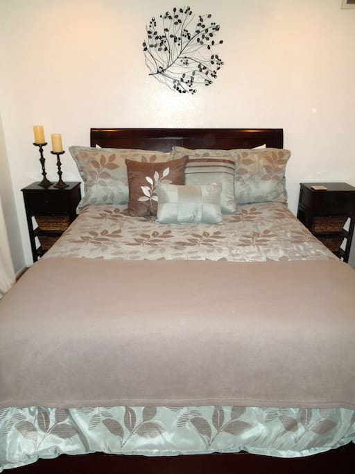 Sleep soundly on our queen, pillow top mattress.  We have plenty of pillows as well as extra blankets.