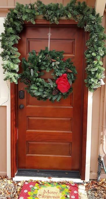 Outside entrance ready for the holidays